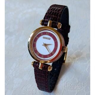 Gucci - 【希少】ヴィンテージGUCCIレディース腕時計・シェリーライン(ボルドー)