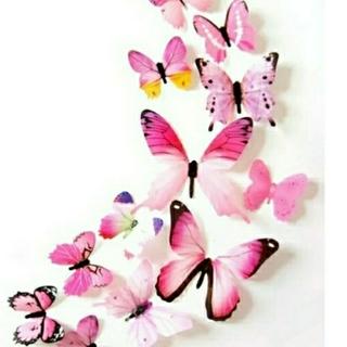 3D バタフライ 蝶 ウォール ステッカー ピンク 12枚入り 立体 壁 シール