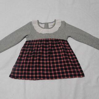【mako様専用】裏起毛トップス グレー×チェック 120cm 子供服 長袖(Tシャツ/カットソー)