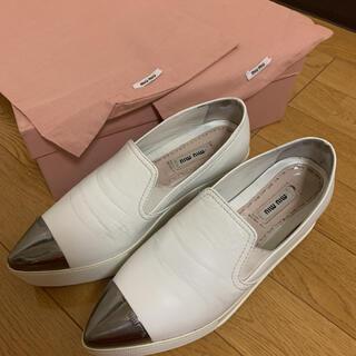 miumiu - MIUMIU 36 ナッパ スリッポン スニーカー 羊革 ホワイト 白 厚底