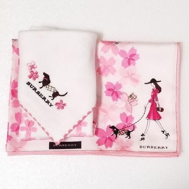 BURBERRY(バーバリー)のBURBERRYハンカチ刺繍🌸1枚 レディースのファッション小物(ハンカチ)の商品写真