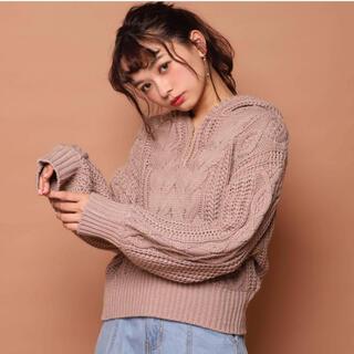 one after another NICE CLAUP - ナイスクラップ ☆ ゆるケーブルフードパーカー ベージュ