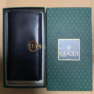 グッチ(Gucci)のグッチ オールドグッチ Wホック 2つ折り長財布 レザー ブラック GUCCI(折り財布)