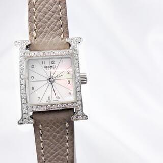 Hermes - 【保証書付】エルメス Hウォッチ ミニ シェル ダイヤ レディース 腕時計