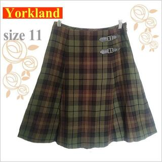 Yorkland - 【Yorkland*ヨークランド】緑茶チェック柄ウール膝丈フレアスカート*11