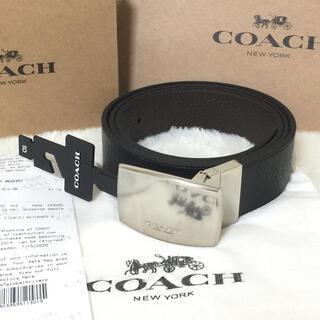 COACH - COACH リバーシブル レザー ベルト ワイド プラーク カット ペプルド