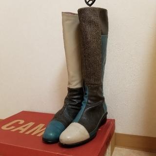 カンペール(CAMPER)のCAMPER レザーロングブーツ パッチワーク 切り替えデザイン(ブーツ)