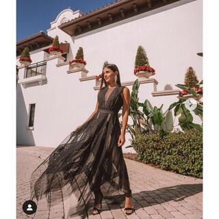ビーシービージーマックスアズリア(BCBGMAXAZRIA)の❤️BCBGMAXAZRIA 新作新品 黒ロングワンピース ドレス(ロングワンピース/マキシワンピース)
