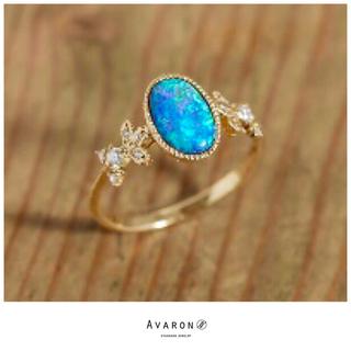 agete - 未使用♡AVARON♡1点物♡ブラックオパール&ダイヤモンド♡K18リング