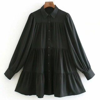 ZARA - フレアーシャツ ワンピース【4size】