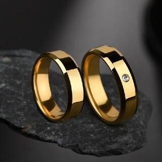New角 ゴールド ステンレスリング ステンレス指輪 シンプル一粒リング