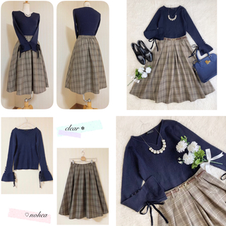 clear - コーデセット ✽ 袖リボンニット + チェック柄スカート ✽