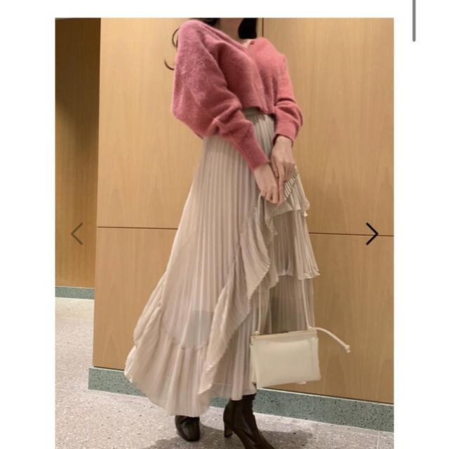 snidel(スナイデル)のsnidel シアーボリュームプリーツスカート アイボリー 0 レディースのスカート(ロングスカート)の商品写真