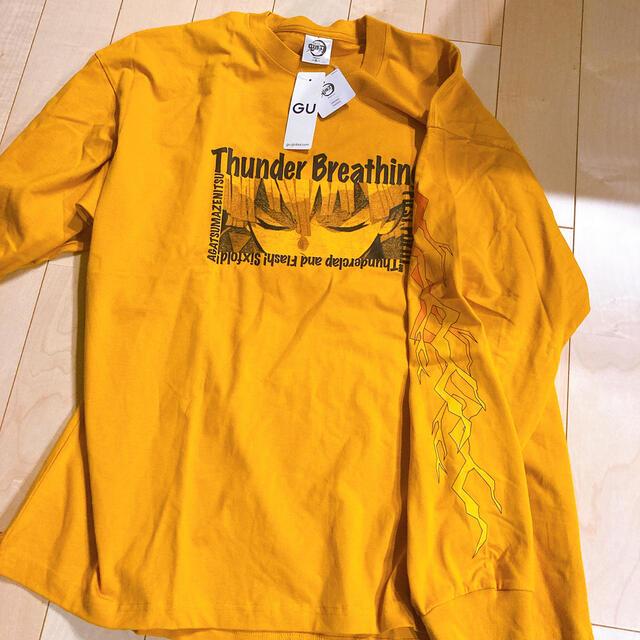 GU(ジーユー)の鬼滅の刃 GU コットンビッグTシャツ 我妻善逸 イエロー XLサイズ メンズのトップス(Tシャツ/カットソー(七分/長袖))の商品写真