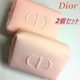 Dior - 2個セット★2020新作 Dior ライトピンク ツヤ CDロゴ コスメポーチ