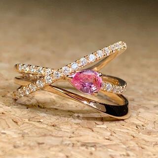 エタニティ リング サファイヤ パパラチア ダイヤモンド k18 PG