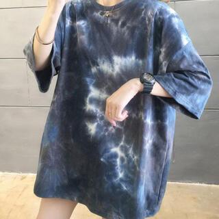 【新品】 秋服 韓国 Tシャツ XL タイダイ 柄 ユニセックス バックプリント