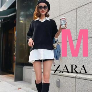 ZARA - 【新品・タグ付き】ZARA  スリット入りサテン地シャツ M オーバーサイズ
