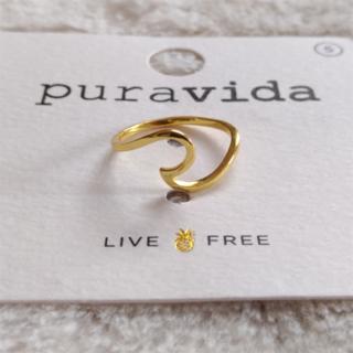 プラヴィダ(Pura Vida)のPura vida リング 指輪 ウェーブ US 5 ゴールド ロンハーマン取扱(リング(指輪))