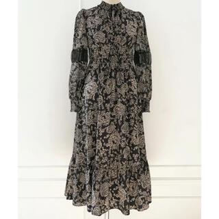 snidel - winter floral long sleeve dress herlipto