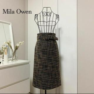 ミラオーウェン(Mila Owen)の【美品】ミラオーウェン チェックツイードタイトスカート(ひざ丈スカート)