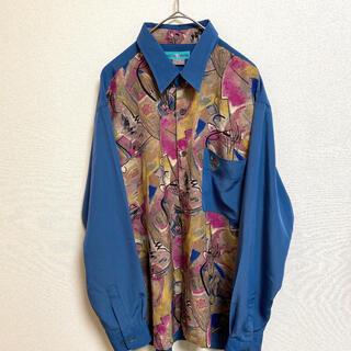 メンズ レディース 柄シャツ 総柄 刺繍 デザインシャツ 洋風 ヨーロピアン