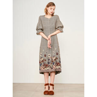 Lily Brown - 正規品♡新品/Lily Brown グレンチェックフラワーワンピース/BEG