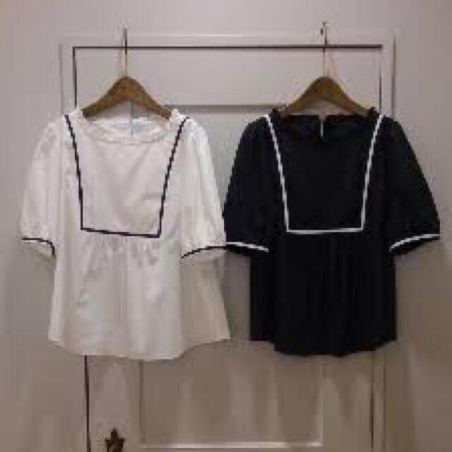 franche lippee(フランシュリッペ)のフランシュリッペ ブラック やさしいセーラーブラウス 白 レディースのトップス(シャツ/ブラウス(半袖/袖なし))の商品写真