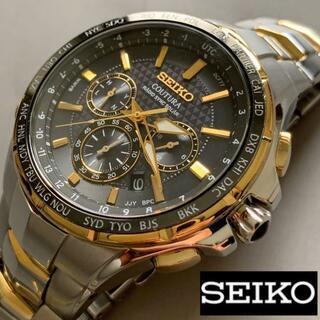 セイコー(SEIKO)の【訳あり美品】SEIKO 電波ソーラー クロノグラフ セイコー メンズ腕時計(腕時計(デジタル))