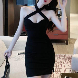 Lipsy - デコルテショルダークロスデザインワンピース キャバ ドレス