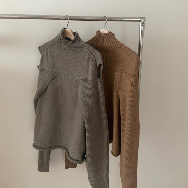 TODAYFUL(トゥデイフル)の新品完売品 TODAYFUL Layered Sleeve Knit グレージュ レディースのトップス(ニット/セーター)の商品写真
