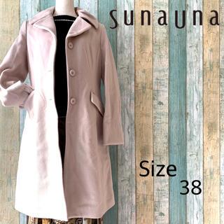 スーナウーナ(SunaUna)の【タグ付き/未使用】Suna Una ステンカラー ウール コート ピンク 38(ロングコート)