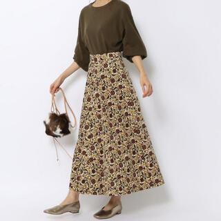 トゥモローランド(TOMORROWLAND)のMACPHEE コーデュロイボタニカルプリント スカート(ロングスカート)
