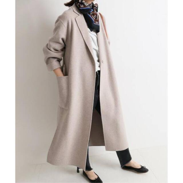 IENA SLOBE(イエナスローブ)の大人気HAMILTON ダブルフェイスウールロングコート ベージュ レディースのジャケット/アウター(ロングコート)の商品写真