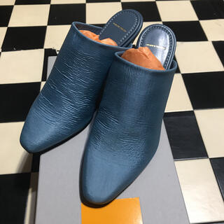 MM6 - maison eureka fabric mule blue gray 37