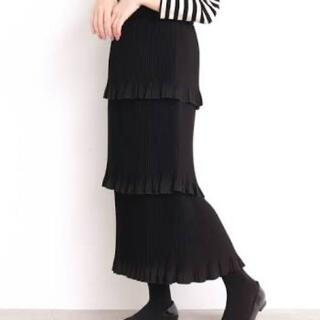 ドットアンドストライプスチャイルドウーマン(Dot&Stripes CHILDWOMAN)のスエードプリーツ 3段ティアードスカート(ひざ丈スカート)