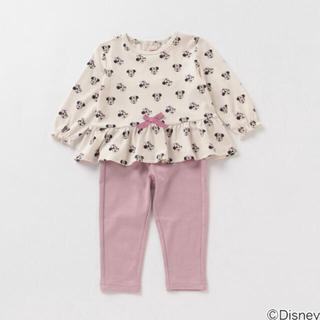petit main - プティマイン 120 ミニーマウスデザイン 総柄Tシャツ×パンツパジャマセット