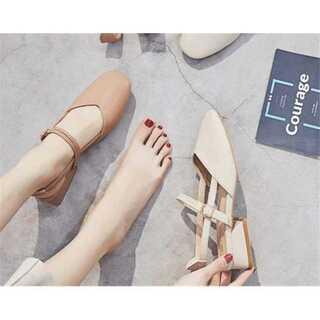 レトロ 靴と靴 一字ボタン 百掛け ミュール  サンダル  シューズ(サンダル)