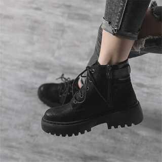 女性靴 レトロ カレッジ風 ショートブーツ レースアップ(ブーツ)