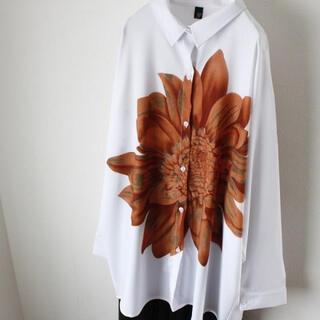 【即日発送】 大きいサイズ 花柄 フラワー デザイン シャツ 長袖 ホワイト