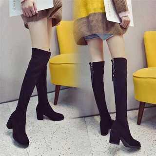 ワイルド ロングチューブ 膝ブーツ ハイヒール 厚手かかと ブーツ(ブーツ)