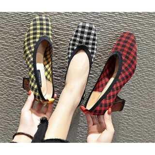 靴 チェック 韓国風 ハイヒール シンプル カラー(ハイヒール/パンプス)