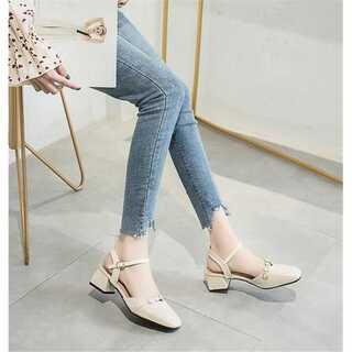 INSスタイル 靴と靴  一字ボタン スクエアトゥ サンダル(サンダル)