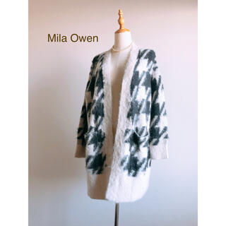 Mila Owen - Mila Owenミラオーウェン ロングカーディガン 千鳥柄 モヘヤ混