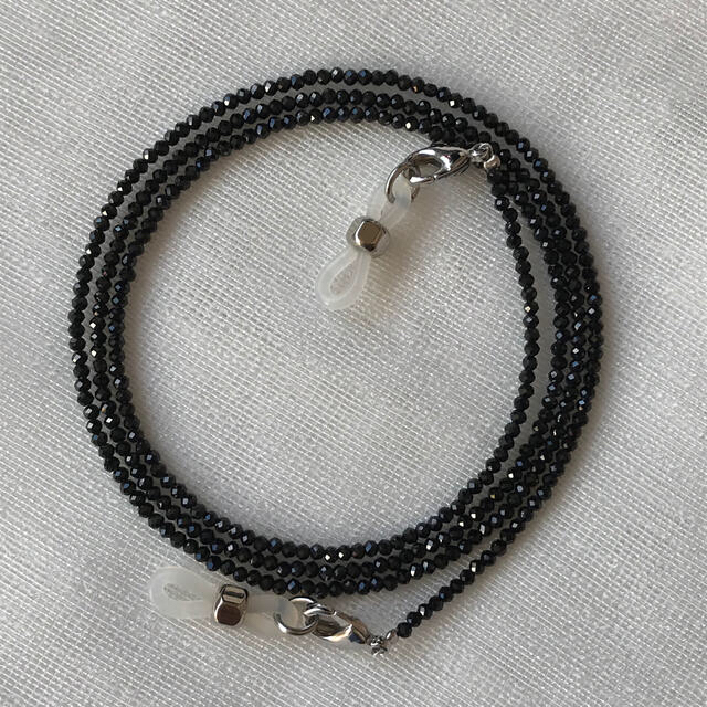メガネチェーン グラスコード ブラックスピネル 黒 ネックレス マスクホルダー レディースのファッション小物(サングラス/メガネ)の商品写真