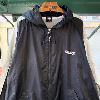 STUSSY - 90s 希少 OLD STUSSYナイロンジャケット 刺繍ロゴ 旧タグ 紺タグ