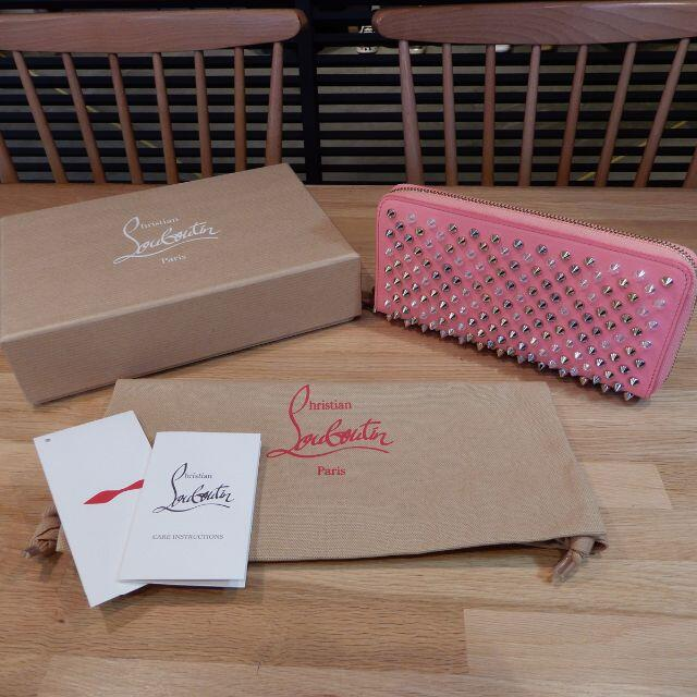 Christian Louboutin(クリスチャンルブタン)の超美品 ルブタン スタッズ ラウンドファスナー 長財布 ピンク パネトーネ レディースのファッション小物(財布)の商品写真