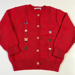 familiar - ファミリア カーディガン 刺繍 ニット セーター 110cm