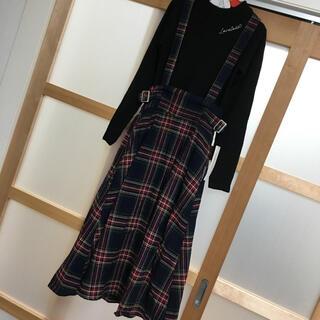 ラブトキシック(lovetoxic)の新品 Sサイズ  ラブトキシック サスペンダー付きチェックスカート (スカート)