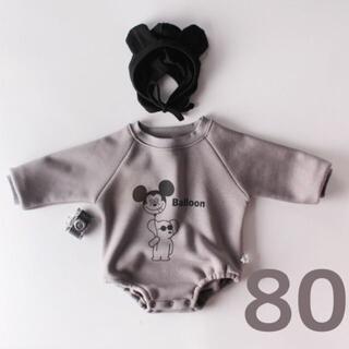 秋冬 ミッキー ベビー ロンパース グレー 韓国 キッズ  帽子 黒 80(ロンパース)